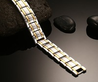 Gold Plated Titanium Steel Double Row Infrared Magnetic Bracelets Bangles Men Germanium Negative Fashion Jewelry
