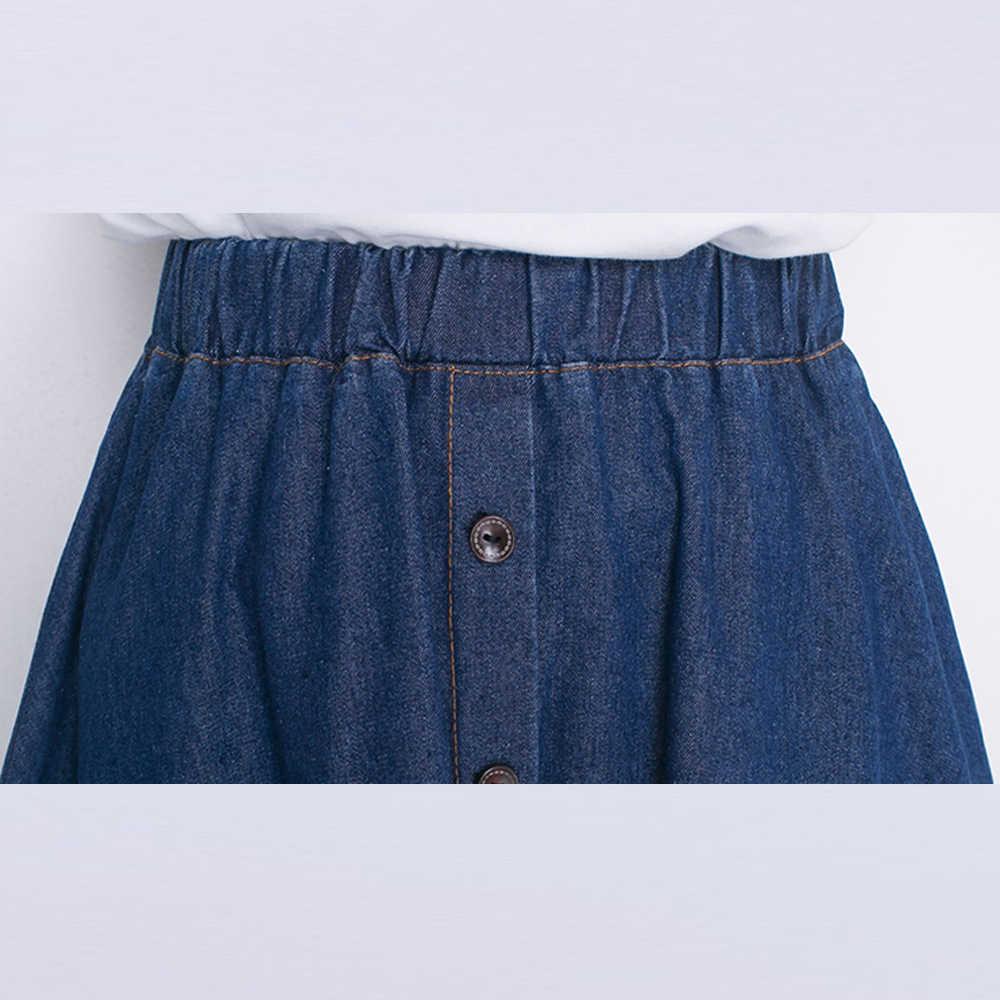 e8db67bfa71ee Women Denim Skirts High Waist Plus Size Midi Skirt Vintage Loose Casual  A-Line Skirt Ladies High Street Style Skirt Saias Faldas
