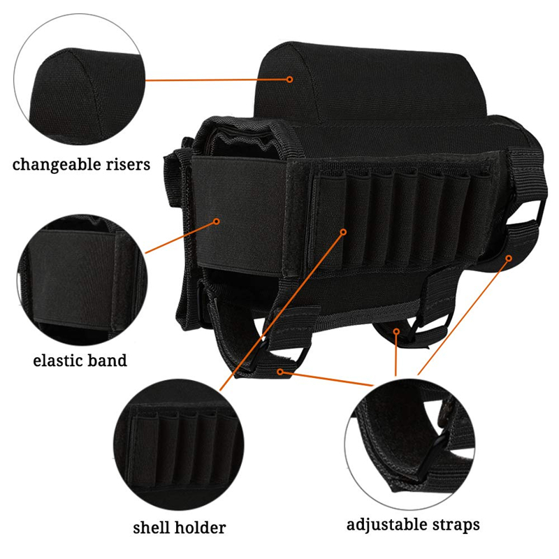 Tactical Buttstock Cheek Rest with Shell Holder for 7.62.308.300 Mag Rifle Shotgun Ammo Pouch Cartridges Hunting Gun Accessories 5