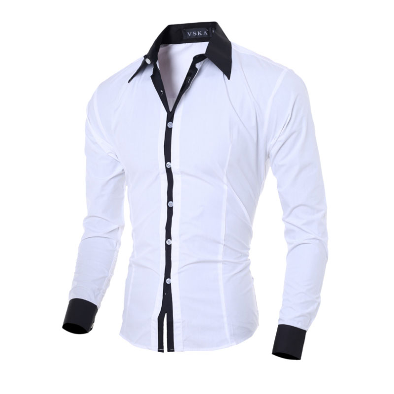 Men Shirt Long Sleeve White Tops 2019 Fashion Solid Casual Shirts Slim Fit Plain Men Clothing Black Grey