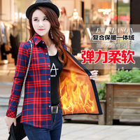 Brand New Women Winter Warm Thick Blouse Office Lady Cashmere Plaid Shirt Tops Long Sleeve Lapel