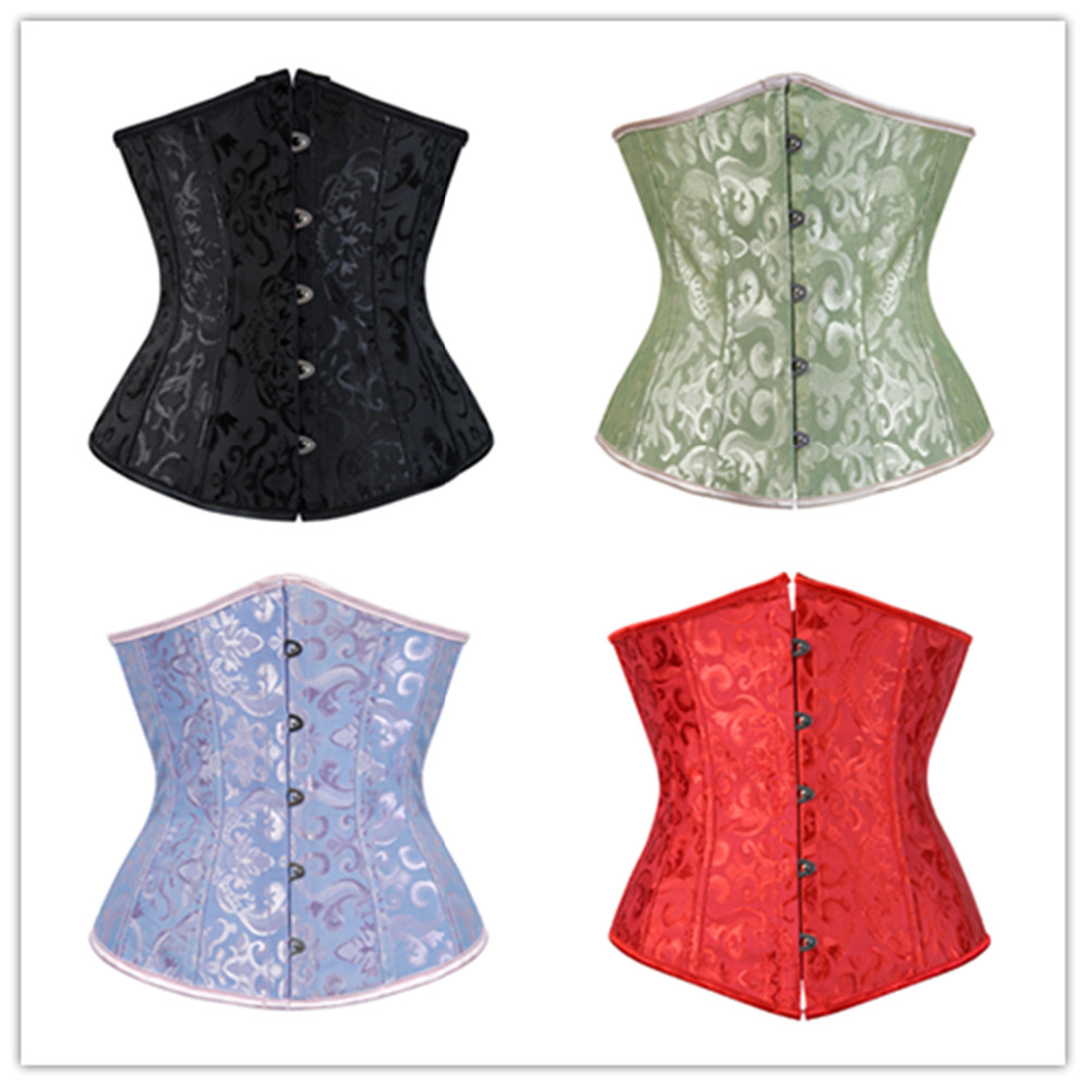 Sexy Satin Jacquard Floral Underbust Corset Lace Up Boned Body Shaper Waist Cincher Bustier Plus Size S-6XL