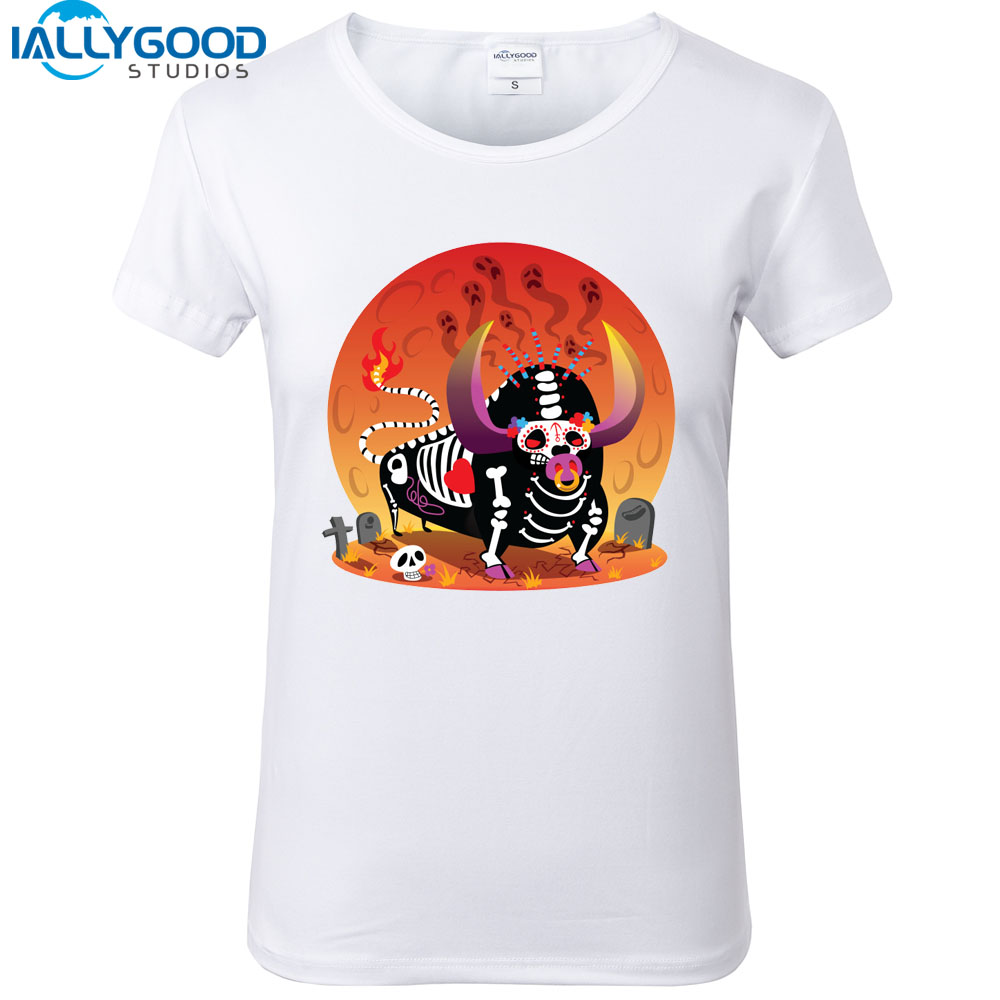 Nouveau Mode D été Dr´le Bull de Mort T Shirts Femmes de Bande Dessinée