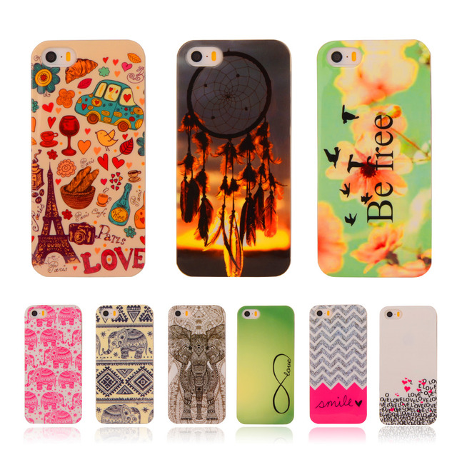 """Cartoon Soft TPU Case Rubber Silicon For Apple iPhone 5 5G 5S / 5SE 4.0"""" Flower Printed Cover Protective Phone Cases"""