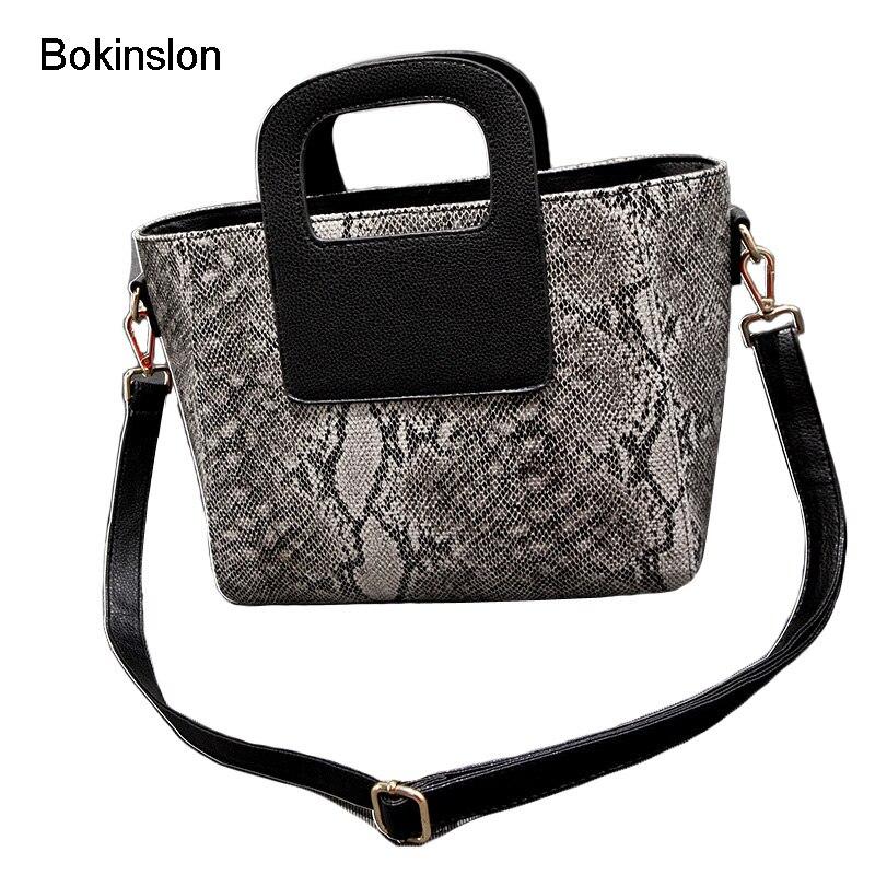 Bokinslon Lady Handbag Pu Leather Creative Snake Print Handbags Woman Fashion Casual  Women Messenger Bags