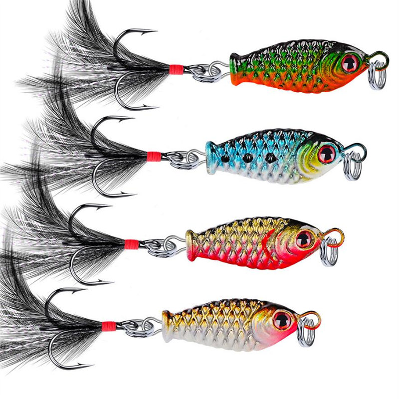 1PCS Metal Baubles With Rotating Petal Bait Fishing Hard Sequins With Feather Bass VIB Fishing Bait Fishing Gear