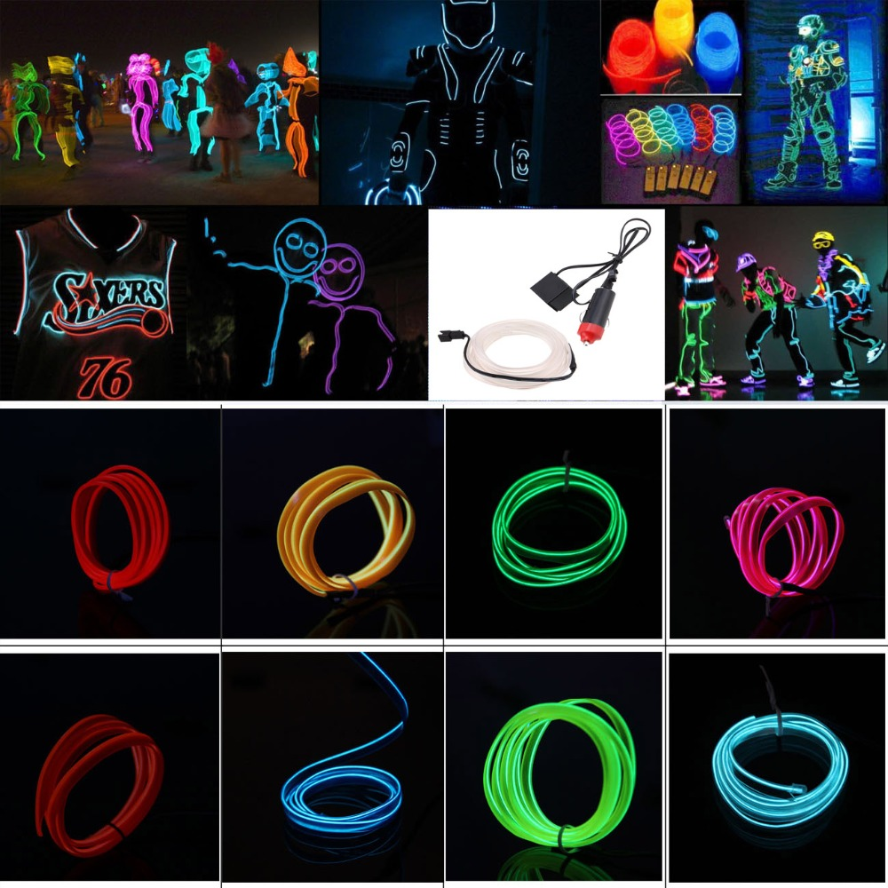 buy universal 2m diy decoration car interior led el wire rope tube neon light. Black Bedroom Furniture Sets. Home Design Ideas
