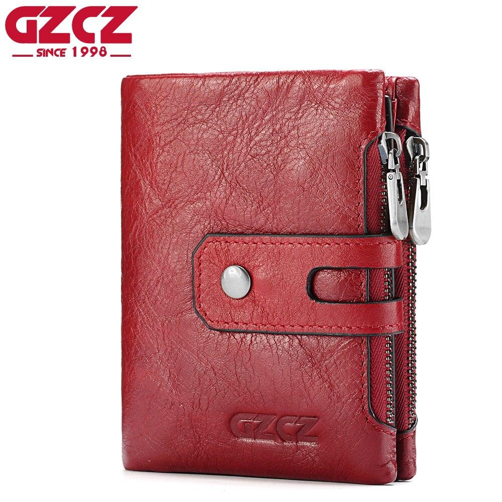 GZCZ Frauen Weibliche Brieftasche Aus Echtem Leder Kurze Geldbörsen Geldbörse Kleine Karte Halter Mit Zipper Klemme Für Geld Tasche Portomonee