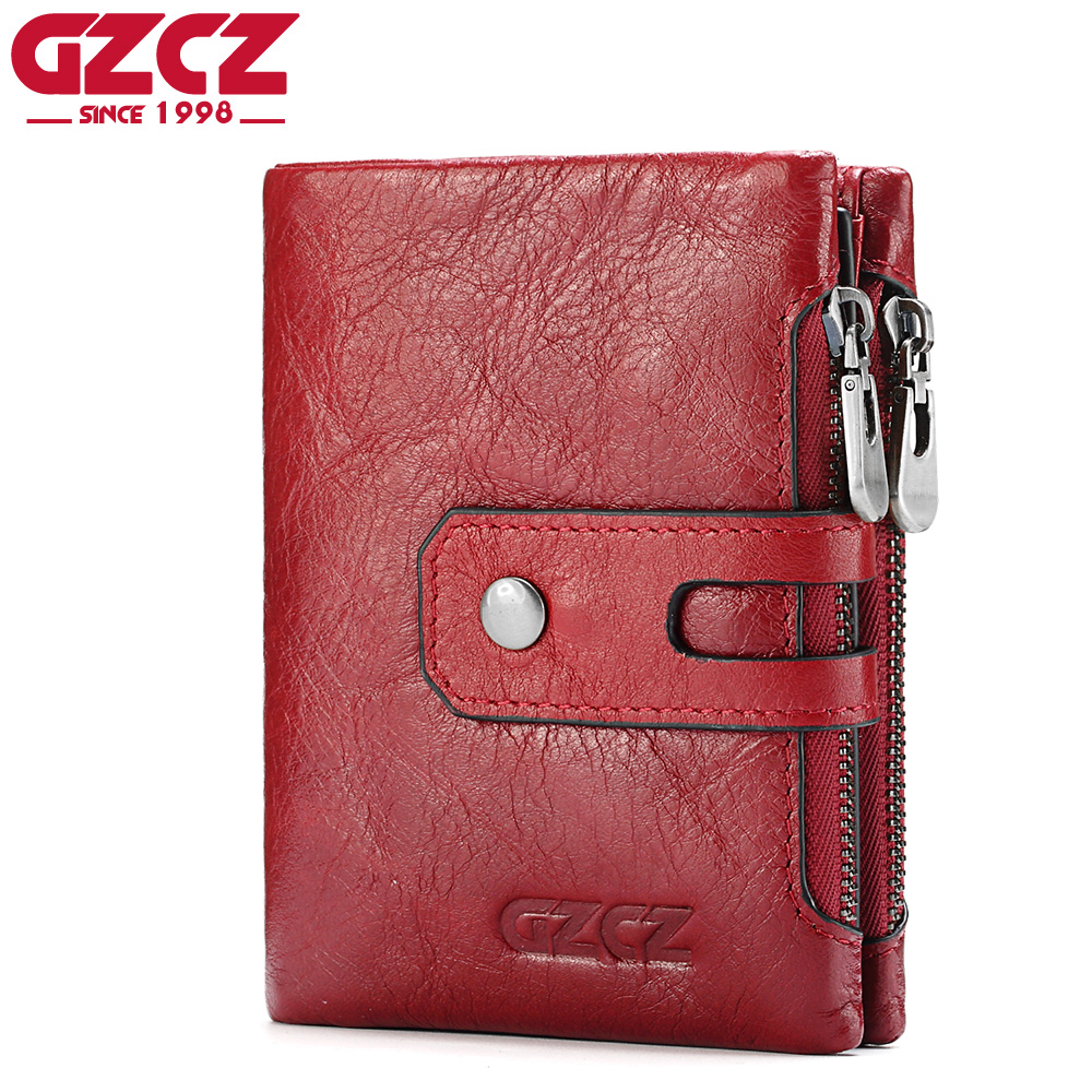 GZCZ Women Wallet Female Genuine Leather Short Wallets Coin Purse Small Card Holder With Zipper Clamp For Money Bag Portomonee все цены