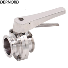 DERNORD 2'' Tri Clamp Butterfly Valve with Trigger Handle Tri Clover Silicon Valve Seat Heavy Duty, Stainless Steel 304 3 1 2 ss 304 butterfly valve manual stainless steel butterfly valve sanitary butterfly valve welding butterfly