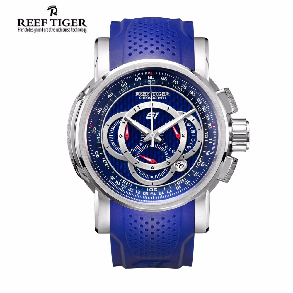 Reef Tiger/RT Mens Sport Watch with Chronograph Date 316L Steel Big Blue Dial Rubber Strap Quartz Watches RGA3063 2017 reef tiger rt mens designer chronograph watch with date calfskin nylon strap luminous sport watch rga3033
