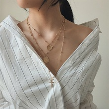 Vintage necklace woman Street Virgin statue cross Multi-layer holiday wind coin clavicle chain hot sale