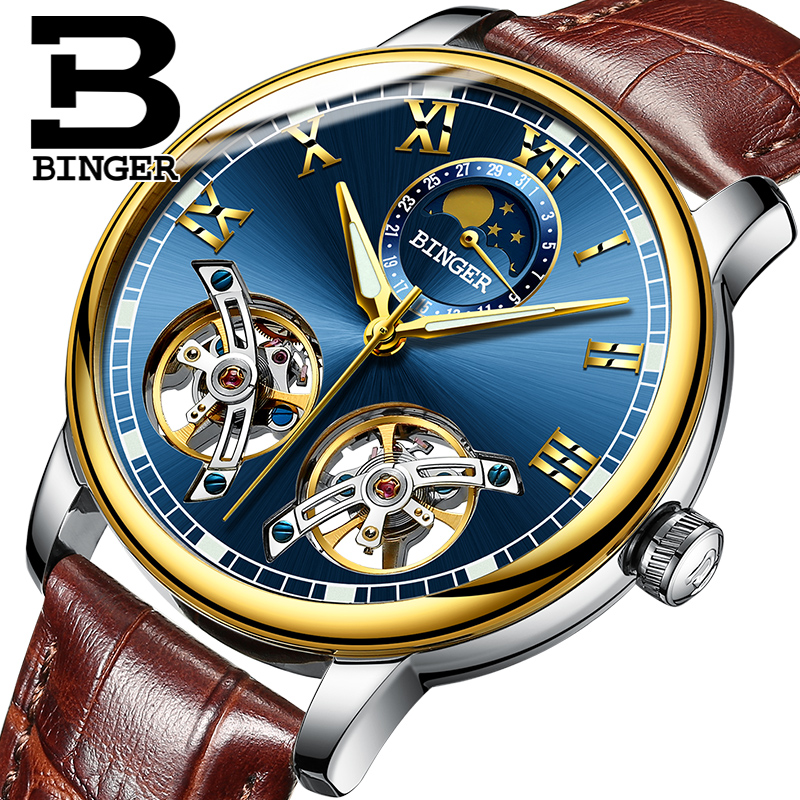 Switzerland BINGER Men Skeleton Automatic Mechanical Watch New Arrival Blue Dial Mens Fashion Casual Leather Watches Waterproof
