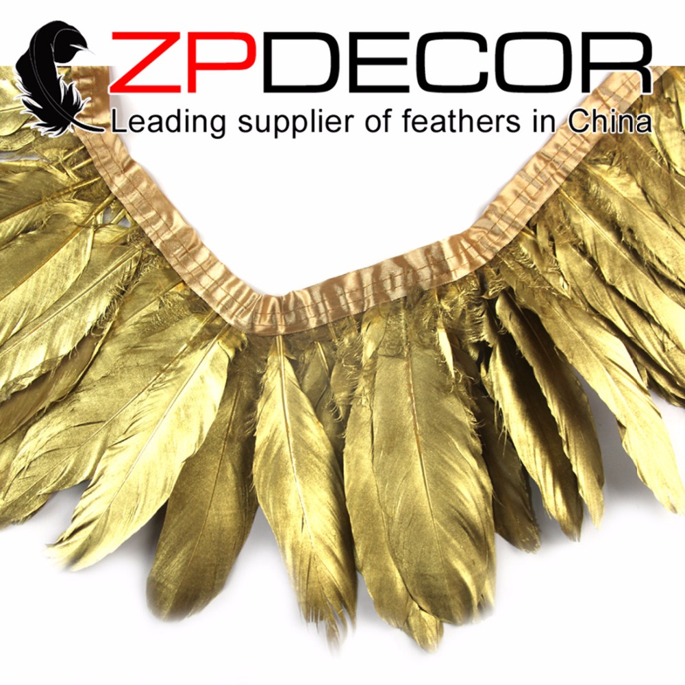 ZPDECOR Feathers 30 Yards/lot Hand Select Premium Quality Gold Metallic Goose Nagoire and Satinettes Party Feather Trim Dress