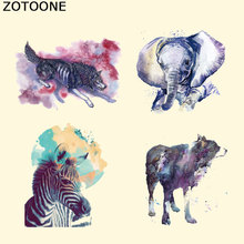 ZOTOONE Fashion New Watercolor Animal Series Patch Elephant Zebra Sticker A-level Washable Iron on Transfer Patches for Clothing