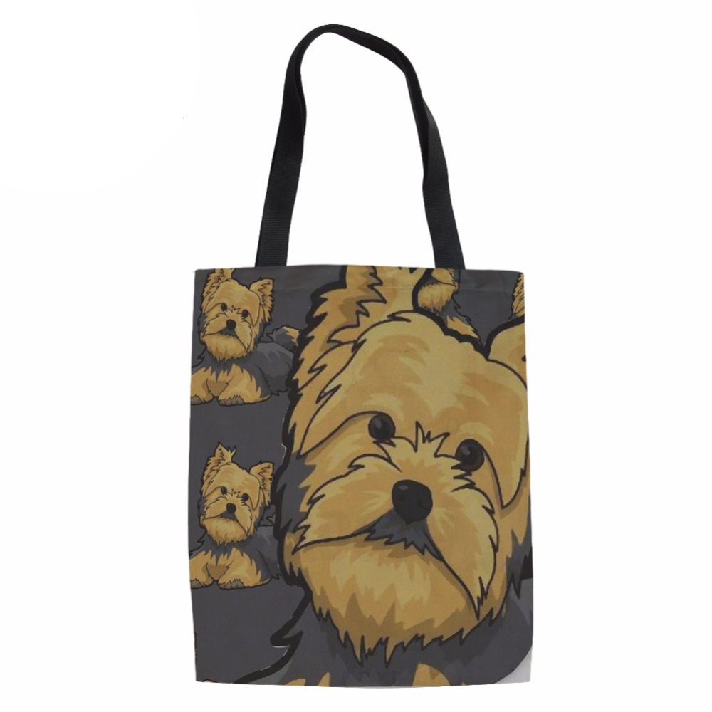 NoisydesignsEco Reusable Shopping Bags Women Yorkie Design Ladies Heavy Duty Shop Coth Bag for Females Funny Recycle Grocery Bag ...