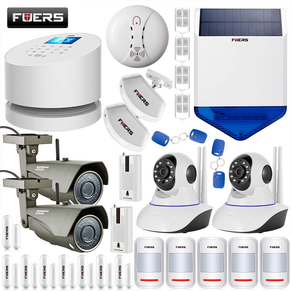 GSM PSTN Wifi Systems Security Home Smart Alarm System+720 WIFI External Indoor ip camera +Solar strobe siren etiger s3b etiger gsm sms alarm system solar power siren indoor siren ip camera super kit as same as chuango g5