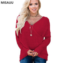 MISAUU Sexy V-neck Cross Front Top Christmas Sweater Women Vintage Knitted Casual Jumper Female Autumn Winter Pullover Plus Size brown cross straps front round neck slit hem knitted jumper