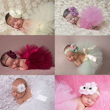 2015 NEW Princess Baby Tulle Tutu with Matching Flower Headband Set Newborn Photography Props Little Girl Skirt 6 colors