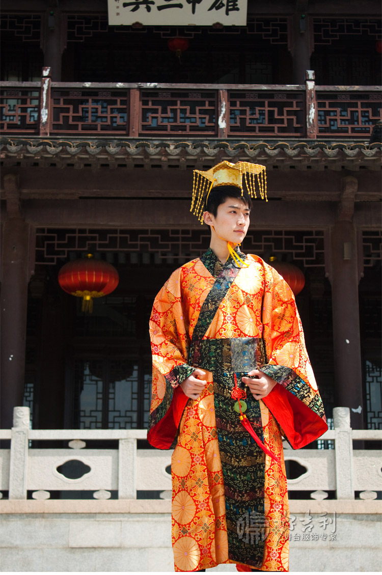 Free Shipping Red/yellow Chinese Ancient Man Clothing Emperor Prince Show Cosplay Robe Costume One Size young emperor chinese edition
