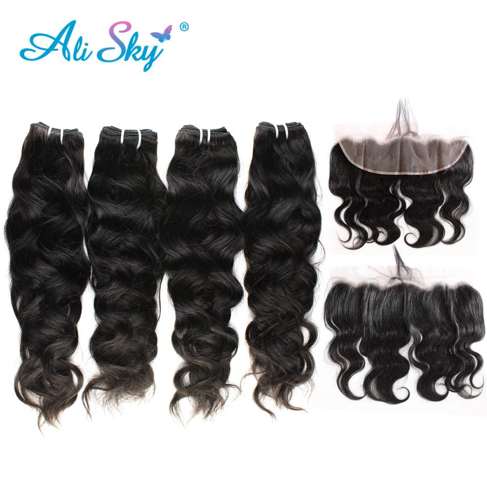 Alisky Hair Natural Wave Peruvian 4bundles With Lace Frontal 100% Human Hair No Tangle No Shedding Can Be Dyed Remy Hair
