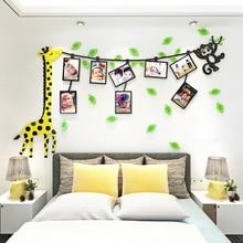 animals giraffe monkeys Photo frame DIY Nursery kids room decor wall stickers