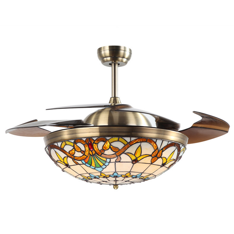 36w Tiffany Ceiling Fan Lamp Colored Stained Glass Remote