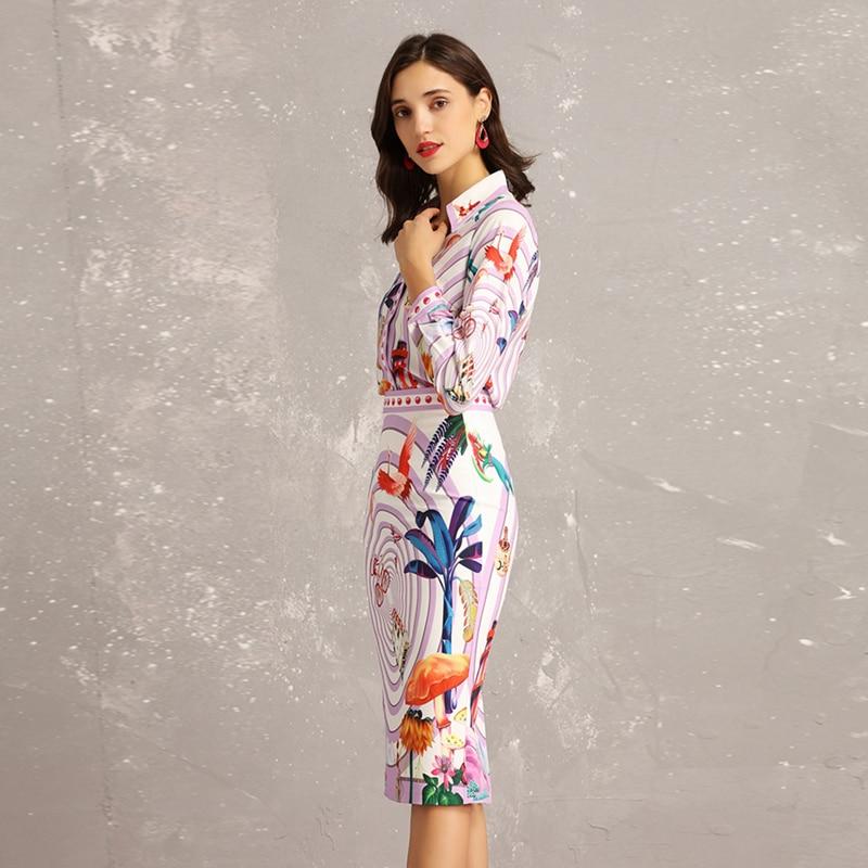 89ea2fee2 Nuevo 2019 Primavera Verano moda diseñador de pasarela dos piezas conjuntos  mujeres de manga larga paisaje estampado blusas + paquete falda de cadera  ...