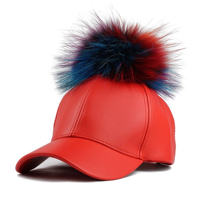 2017 Mulheres Reais Mink Pom Poms Pele Real Bonés de Beisebol Unisex elegante hip hop caps snapback cap bola inverno feminino chapéus zxm-jy-147