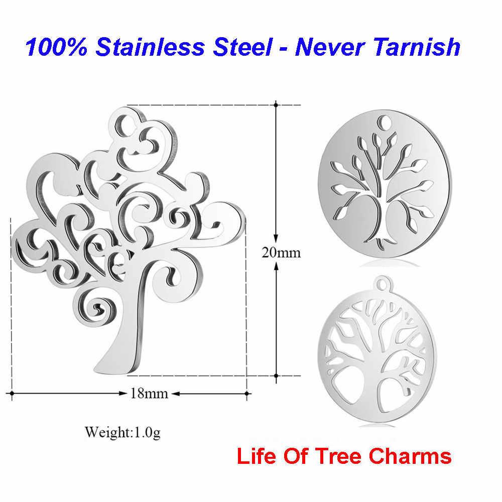 10 ชิ้น/ล็อต 100% สแตนเลสสตีลต้นไม้Charms VNISTARสูงธรรมชาติDIY Charmเครื่องประดับค้นหาอุปกรณ์