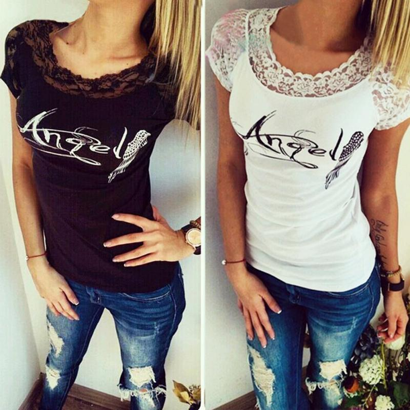 7d110c8e9e Summer New fashion lace angle wing printed T-shirts for women tee shirt  femme camisetas