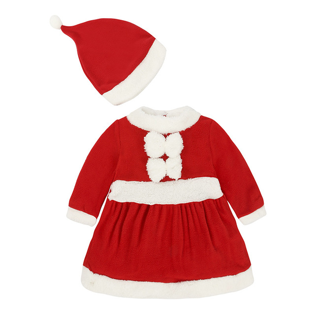 d8abe4acfa2 Baby Girls Dress Hat Christmas Costumes Clothes Suit Fleece Girl Coat  Outfit Santa Newborn Overalls Girl Jumpers Jumpsuits 0-2Y