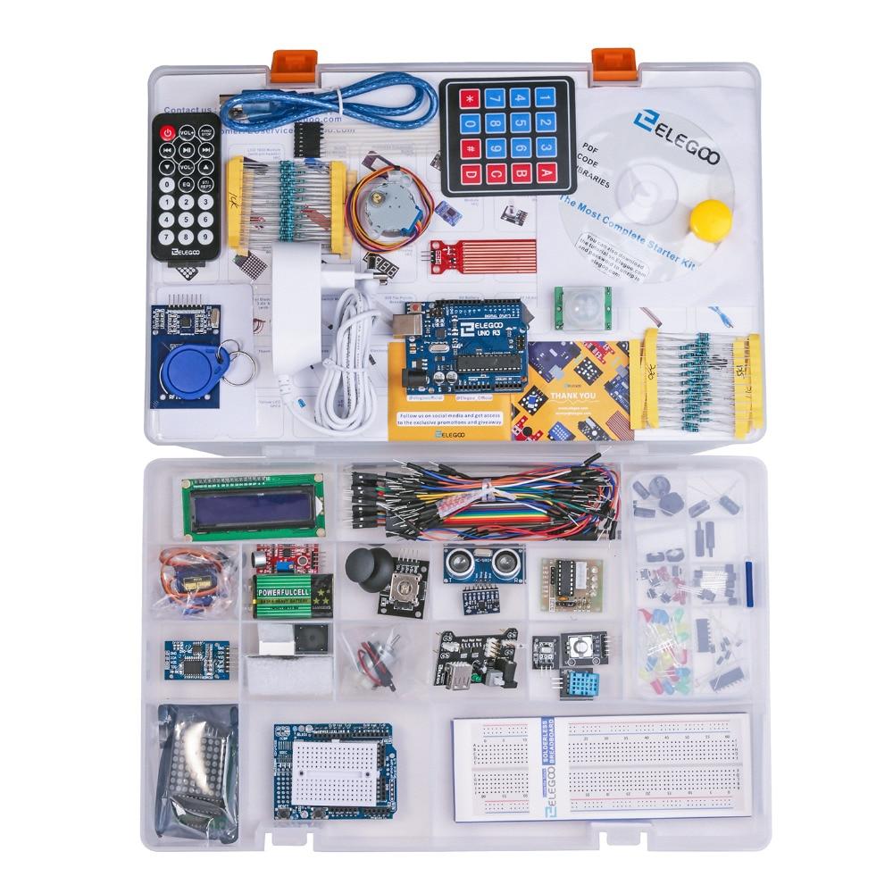Elegoo Kit Arduino Starter Kit Arduino UNO R3 Projet Complete Starter Kit avec Tutoriel pour Arduino (63 Articles) EL-KIT-001