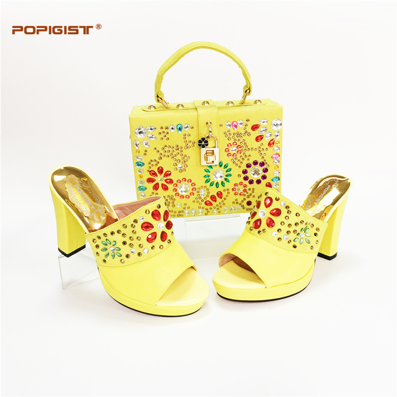 Flowers Design In Handbag Matching Lady Shoes Yellow Italian Shoes And Bags Set To Match High