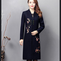 EYES 2018 Plus Size Women Coats Embroidery Spring Bodycon Black Red Fashion Elegant Style High Quality Coats