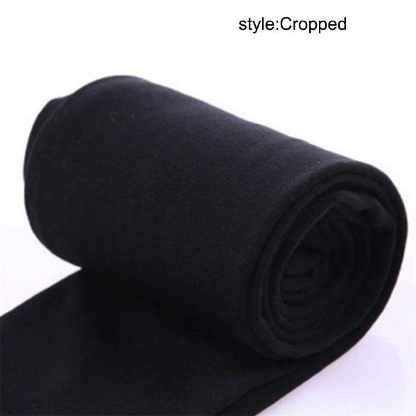 Осенне-зимние модные женские теплые флисовые зимние тянущиеся леггинсы с теплой флисовой подкладкой, тонкие теплые штаны BFJ55 - Цвет: Cropped  Black