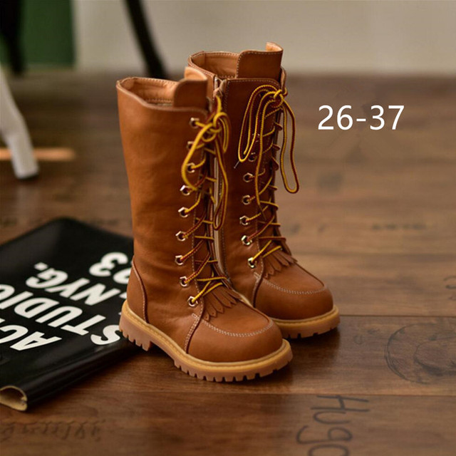 Martin Boots Girls 2016 New Single Boots High Top Children's Kids Shoes  Fringe Middle Boots Vintage PU Leather Winter Boots