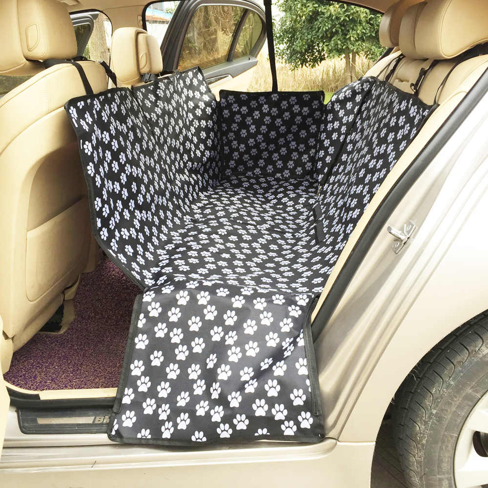 Wholesale Oxford Footprint  Carriers Rear Back Waterproof Pet  Car Seat Cover Mats Hammock Protector With Safety Belt