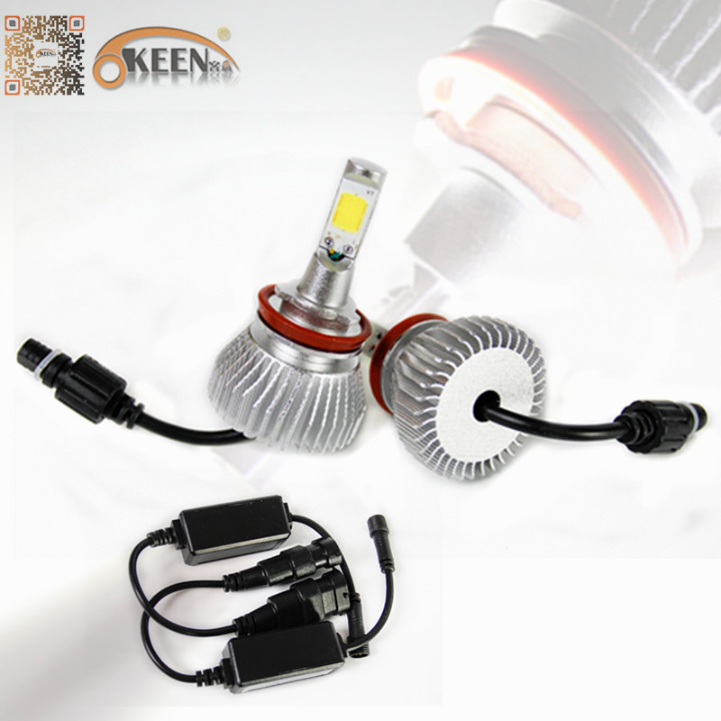 2200Lm IP65 Car Motorcycle LED Headlight Kit 6000K White Bulb H11 H1 H3 H4 H7 9005 9006 Epistar COB Aluminum Fan Low High Beam