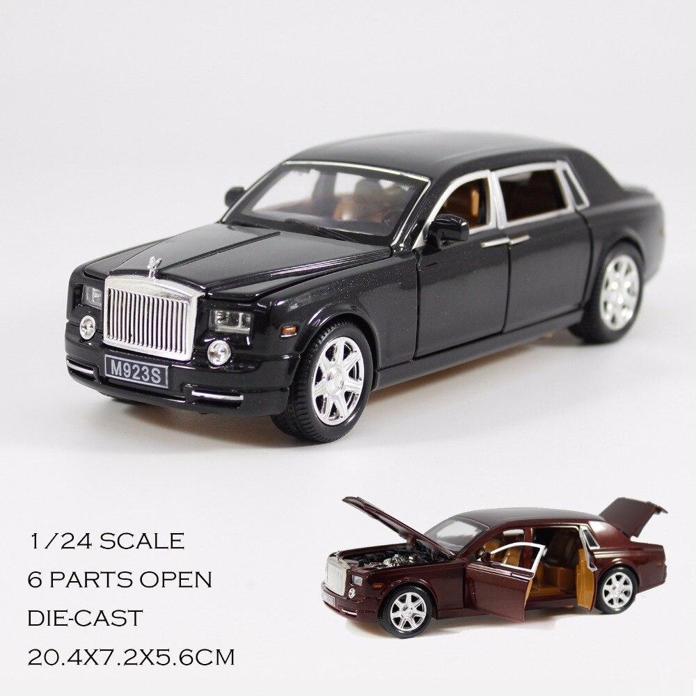Rolls-Royce Phantom Modeli 1:24 çekin geri metal modeli, ses ve ışık alaşım model araba koleksiyonu oyuncaklar çocuklar için