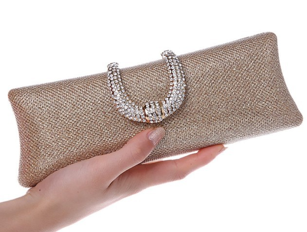 U Diamond Gold Clutch Bag Crystal Clasp Silver Evening Bags women Wedding Bride Purse glitter party clutches Ladies Wllet 1802