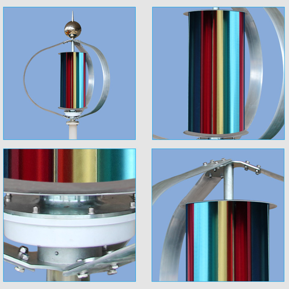 Contrôleur Vertical de Charge de générateur de vent 12V 300W triphasé moulin à vent Vertical Axial Kit de contrôleur de générateur d'énergie éolienne - 4