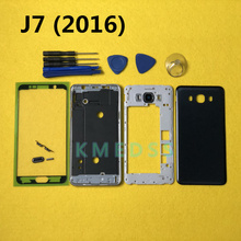 Full Housing Front Chassis Middle Frame With Side buttons + Back Battery Cover For Samsung Galaxy J7 2016 J710 J710F + tools