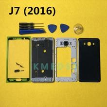 เต็มรูปแบบด้านหน้าแชสซีกลางกรอบด้านข้างปุ่ม + สำหรับ Samsung Galaxy J7 2016 J710 J710F + เครื่องมือ
