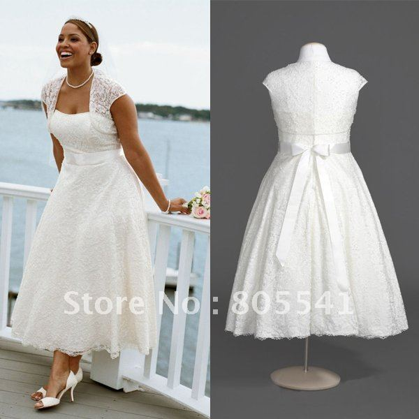 Cheap plus size wedding dress tea length
