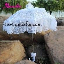 Белое баттенбергское кружево с оборками Свадебный зонтик