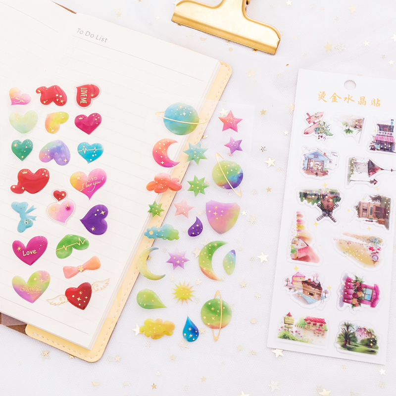 Gilding Planet Space Heart House Star Decorative Crystal Diary Sticker Scrapbook Decoration Stationery DIY Stickers chic diy crescent and star pattern home decoration decorative wall stickers