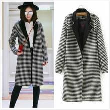 Winter Wool Coats Women 2015 New Hot Fashion Black White Plaid Print Women Wool Coat Slim Thin Wool Blends Warm Long Overcoat XL