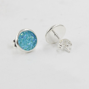 Image 3 - Fnixtar 8mm Stainless Steel Tiny Drusy Stud Earrings Round Cut Faux Druzy Earrings For Women  20 pairs/lot