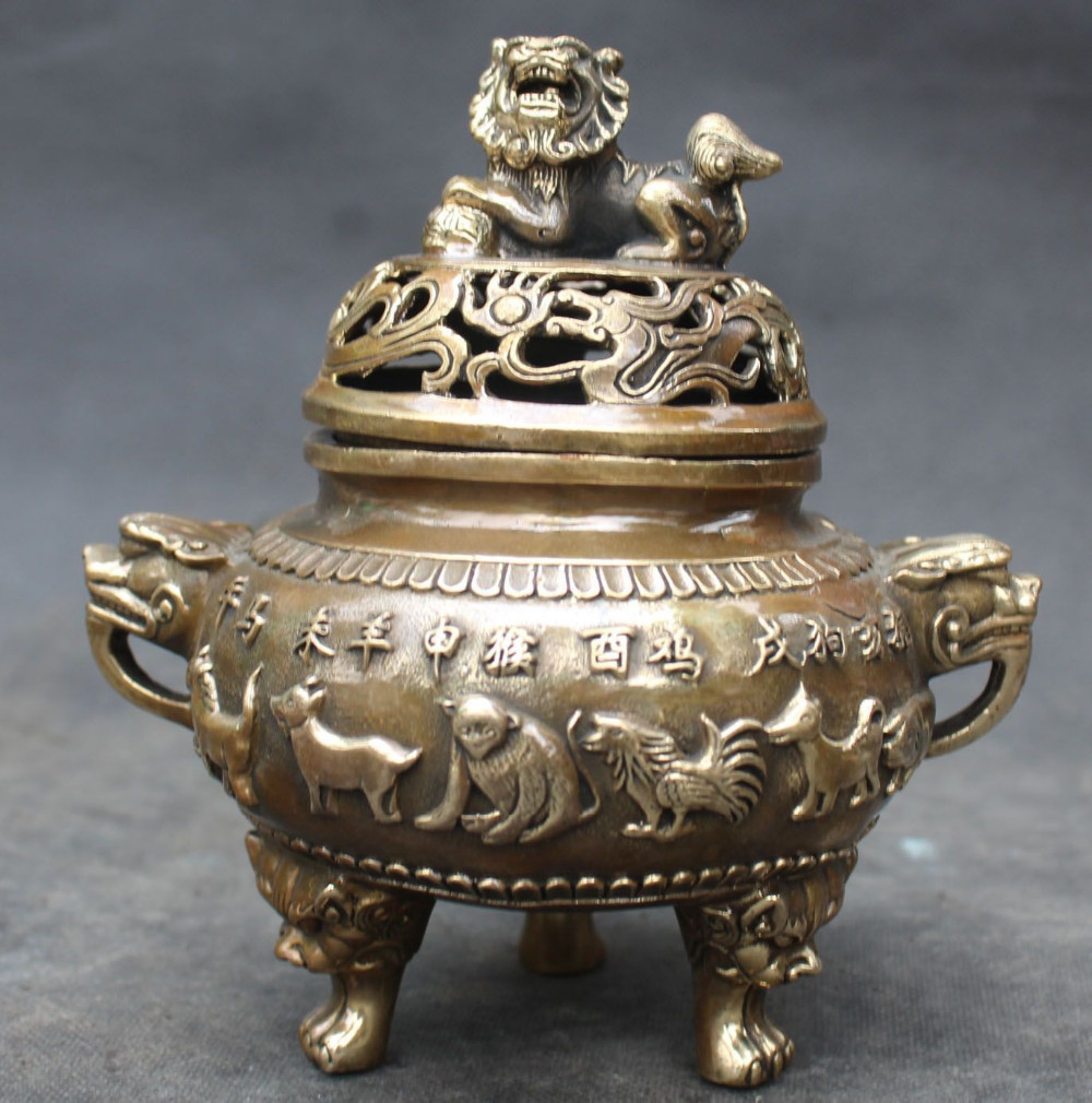 14 cm/China Bronze Lion Beast Head 12 Zodiac Animal Incense Burner metal handicraft Gifts family decorations incense Burner